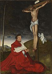 Cardinal Alberto of Brandenburg before Christ on the Cross