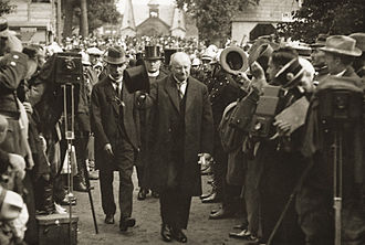 Signatories of the Act of Independence of Lithuania - Signator Aleksandras Stulginskis (center) as President of Lithuania in Kaunas' agricultural exhibition, 1924