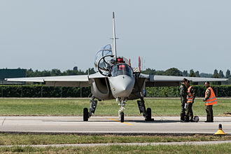 Alenia Aermacchi M-346 Master - Head-on view of a M-346 on the ground, 2015