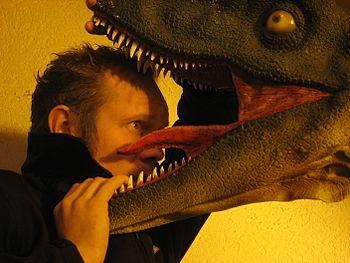 Alexis Dworsky with a model of a Dinosaur (Dei...