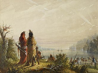 American Fur Company - Alfred Jacob Miller - Indians Threatening to Attack Fur Boats