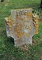 All Saints Church, Nazeing, Essex, England ~ churchyard stone with lichen.JPG