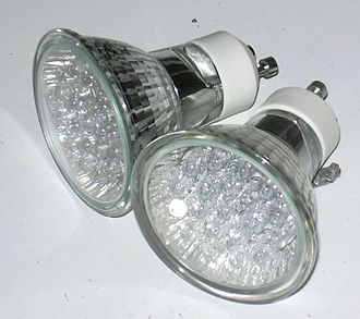 Appropriate technology - LED Lamp with GU10 twist lock fitting, intended to replace halogen reflector lamps.