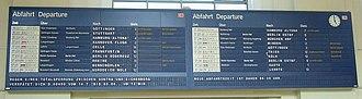 Split-flap display - Flap display as departure board in Hannover railway station, Germany