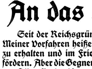 Fraktur type. Detail from a poster of Kaiser W...