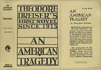 An American Tragedy - Dust jacket of early edition of An American Tragedy, published by Boni & Liveright, 1926