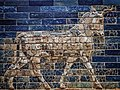 An Auroch symbol of Adad (Hadad) storm and rain god of ancient Mesopotamian religions on the Ishtar Gate of Babylon reconstructed with original bricks at the Pergamon Museum in Berlin 575 BCE (2) (32577958226).jpg