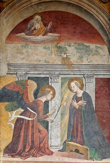 Fresco of the Annunciation at the Pantheon, Rome, 15th century Annunciation Melozzo da Forli Pantheon.jpg