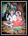 Another view of the ascetic Shiva and the well-dressed Parvati (bazaar art, c.1950's).jpg
