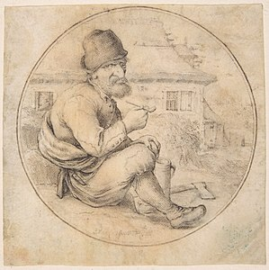 Anthonie Crussens - Seated Old Man Holding a Pipe