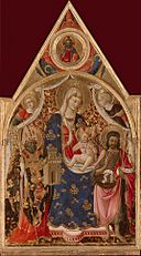 Antonio da Firenze - Madonna and Child, with a Bishop, St John The Baptist and Angels. Top Part- Christ Blessing - Hermitage.jpg