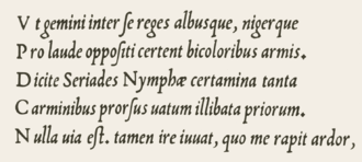 Centaur (typeface) - Arrighi's italic typeface design, ca. 1527. At the time italic capitals had not been invented, but were always upright in the Roman inscriptional tradition.