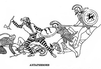 Artaphernes (son of Artaphernes) - Artaphernes fighting the Greeks at the Battle of Marathon in 490 BC, in the Stoa Poikile (reconstitution)