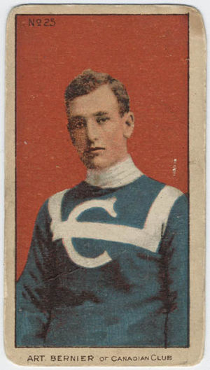 Arthur Bernier - A cigarette pack hockey card showing Bernier in the original Canadiens uniform of 1909–10.