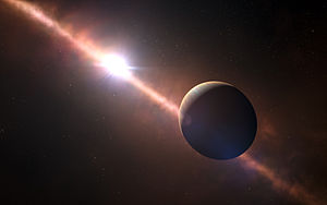 Beta Pictoris b - Artist's impression of Beta Pictoris b. The debris disk around the parent star can be seen.