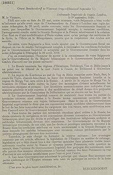 Acuerdos de Asia Menor - Conde Alexander Konstantinovich Benckendorff, Ambassade Impériale de Russie (Embajador Imperial Ruso en el Reino Unido), Londres al Vizconde Gray (Sir Edward Gray), 1 de septiembre de 1916.jpg