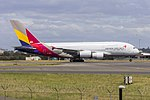 Asiana Airlines (HL7635) Airbus A380-841 departing Sydney Airport.jpg