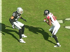 Michael Jenkins (wide receiver) - Jenkins is matched up against Oakland Raiders cornerback Nnamdi Asomugha at a Falcons away game on November 2, 2008.