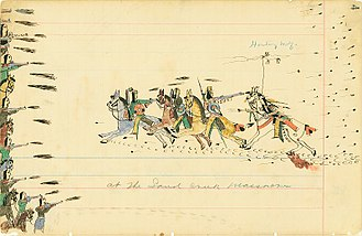 Sand Creek massacre - A depiction of one scene at Sand Creek by witness Howling Wolf