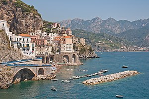 Amalfi Coast - View of Atrani from the coast