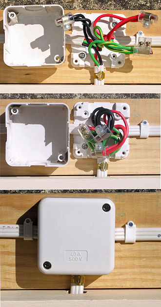Junction box - Australian Internal Surface Mounted Junction Box - showing wiring stages.