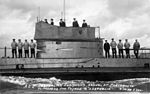 Australian submarine AE2 arriving at Portsmouth to prepare for her voyage to Australia.jpg