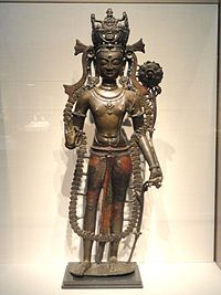 Avalokiteshvara, the Bodhisattva of Compassion, Guge kingdom, 1000-1050 AD, Nagari, west Tibet, brass alloy with copper and tin inlay, colored wax, traces of gilding, and pigment - Freer Gallery of Art - DSC05209.JPG