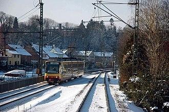 Karlsruhe–Mühlacker railway - Karlsruhe Stadtbahn line S5 service at the junction with the Kraichgau Railway at Oberaustraße stop