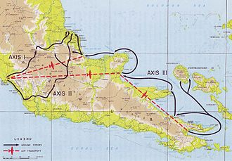 A map of the Papua showing three arrows converging on Buna.