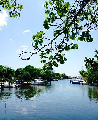 Babylon (village), New York - Canal in Babylon Village across from Argyle Lake