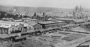 Lahn Valley Railway - Limburg station in 1880 – the entrance building stands at the right edge of the picture.