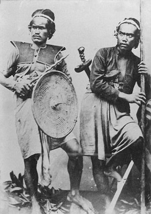 Dutch intervention in northern Bali (1848) - Balinese soldiers in the 1880s.