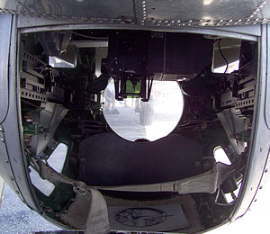 Ball turret - Interior of the Sperry ball turret of a preserved B-17 (2008)
