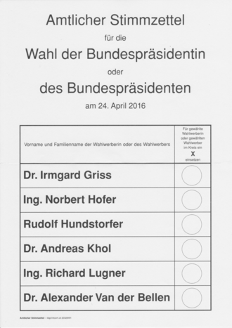 Austrian presidential election, 2016 - Official ballot paper for the first round of voting