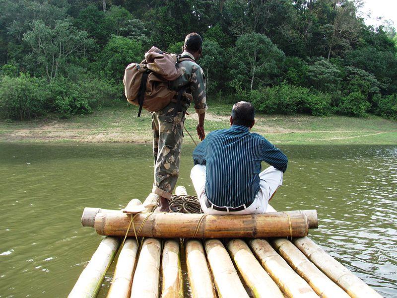 File:Bamboo Rafting during guided tour through Periyar Wild Life Sanctury.JPG Description English: Bamboo rafting