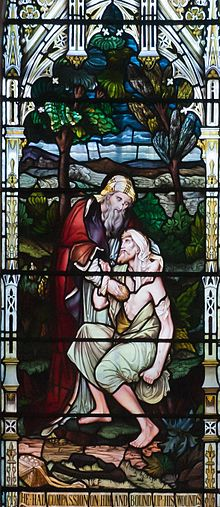 Bantry Church of St. Brendan The Navigator Third North Window Good Samaritan and Light of the World 2009 09 09-cropped.jpg