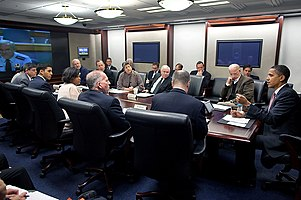 Barack Obama at meeting in White House Situation Room on response to Haiti earthquake 2010-01-13.jpg