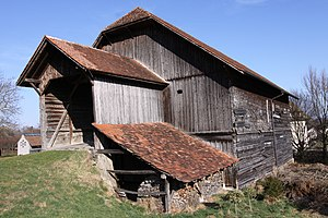 Barn - A bridge barn in Switzerland. The bridge (rather than a ramp) in this case also shelters animals.