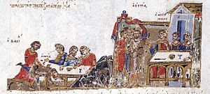 Basil I - Basil victorious in a wrestling match against a Bulgarian champion (far left), from the Madrid Skylitzes manuscript.