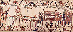 Dead bell - The funeral procession of Edward the Confessor as depicted on the Bayeux Tapestry. Note the dead bells held by the two people next to (below) the deceased.