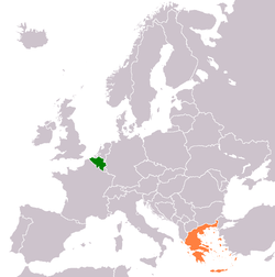 Map indicating locations of Belgium and Greece