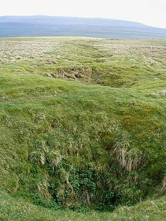 Bell pit - A line of bell pits following a lead seam. These are often mistaken for shake holes