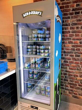Ben & Jerry's - Image: Ben Jerry's display freezer at Dominos