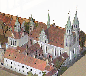 Berlin Cathedral - The Supreme Parish Church with its double-tower façade of 1538 with northerly adjacent parts of Berlin's Palace. Miniature shown in the present church building.