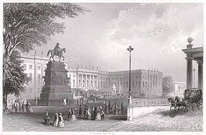 Names inscribed on the Equestrian statue of Frederick the Great - Image: Berlin Universitaet um 1850