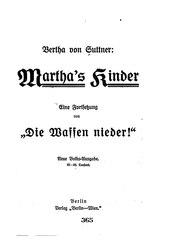 Bertha von Suttner: Martha's Kinder