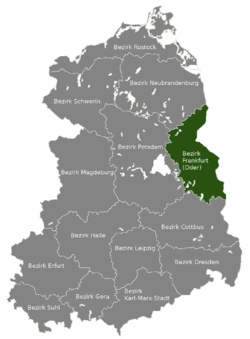 Location of Bezirk Frankfurt within the German Democratic Republic