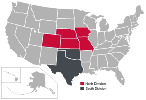 2010–13 Big 12 Conference realignment - Image: Big 12 Divisions Map