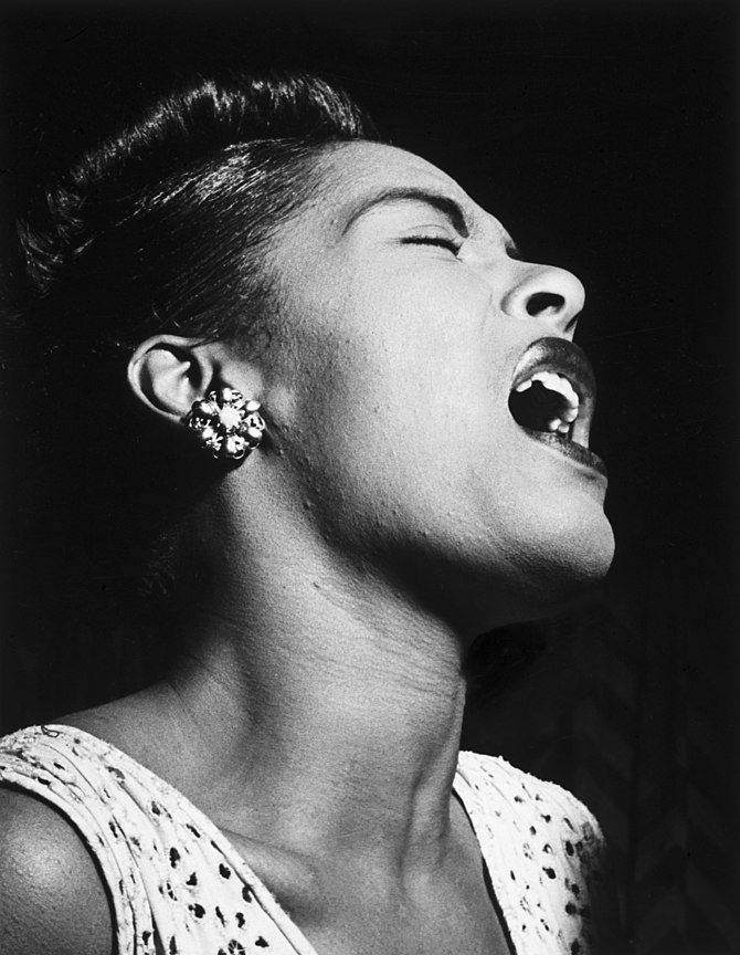 English: Portrait of Billie Holiday in Down Be...