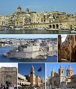 From top: skyline, Fort Saint Angelo, Auberge d'Angleterre, Couvre Porte Gate, Malta Maritime Museum, Church of St. Lawrence